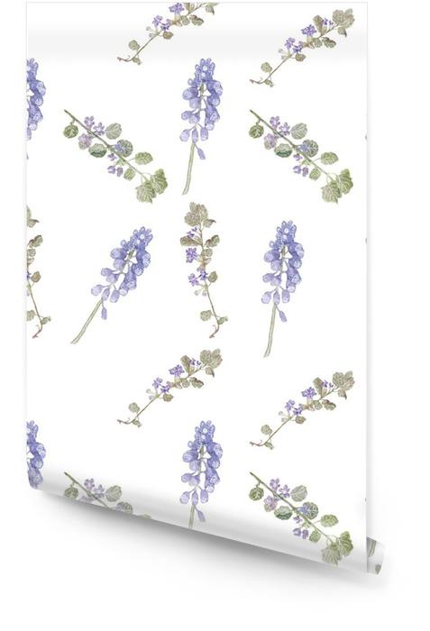 Wzór purpurowe kwiaty. kwiaty pola, delikatny wzór akwarela trawy Tapeta w rolce - Rośliny i kwiaty