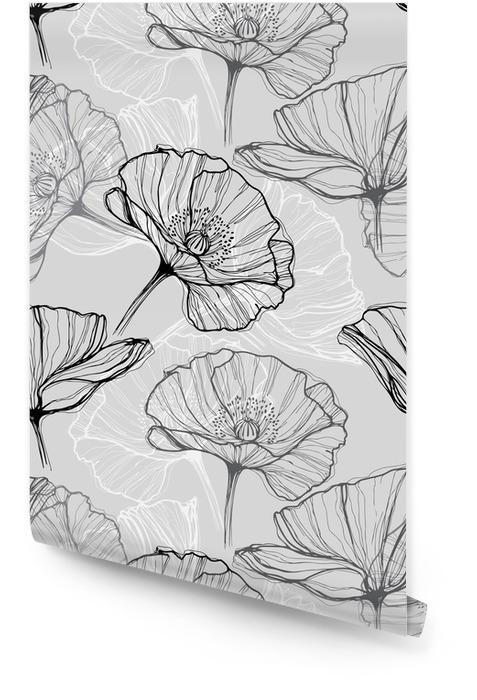 Monochrome seamless con papaveri. Disegnata a mano sfondo floreale Rotolo di carta da parati - Fiori