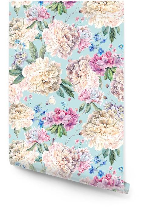 Wzór kwiatowy akwarela bezszwowe wzór z białe piwonie Tapeta w rolce - Rośliny i kwiaty