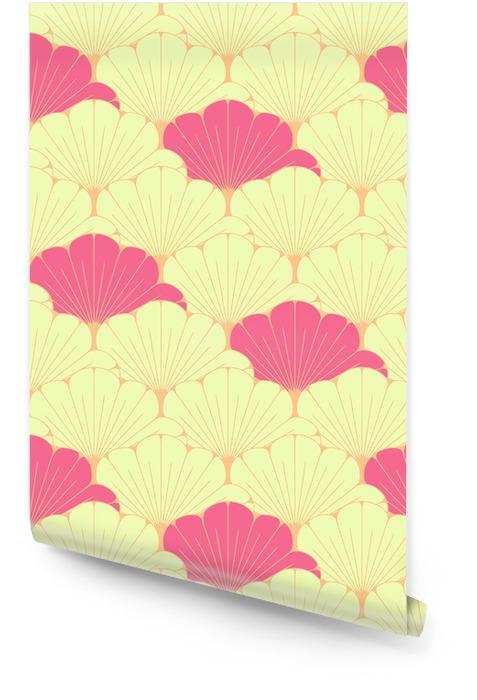 Japoński styl bez szwu dachówka z egzotycznym wzorem liści w kolorze różowym Tapeta w rolce - Zasoby graficzne