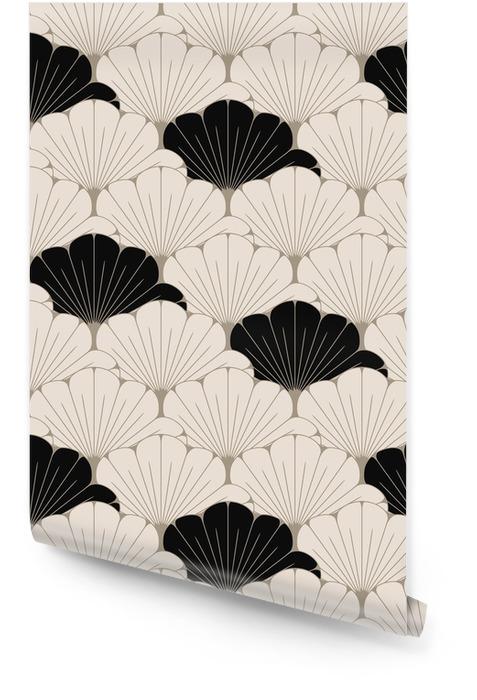 Eine nahtlose Fliese der japanischen Art mit exotischem Laubmuster in weichem Braunem und in Schwarzem Tapetenrolle - Grafische Elemente