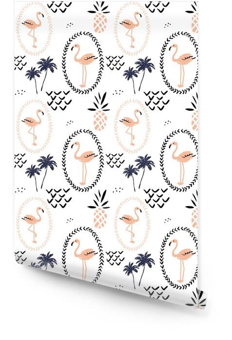 Rumieniec różowy flaming w ramce, ananasy i palmy na białym tle. wektor wzór z tropikalnych ptaków i owoców. ręcznie rysowane ilustracji. Tapeta w rolce - Zwierzęta