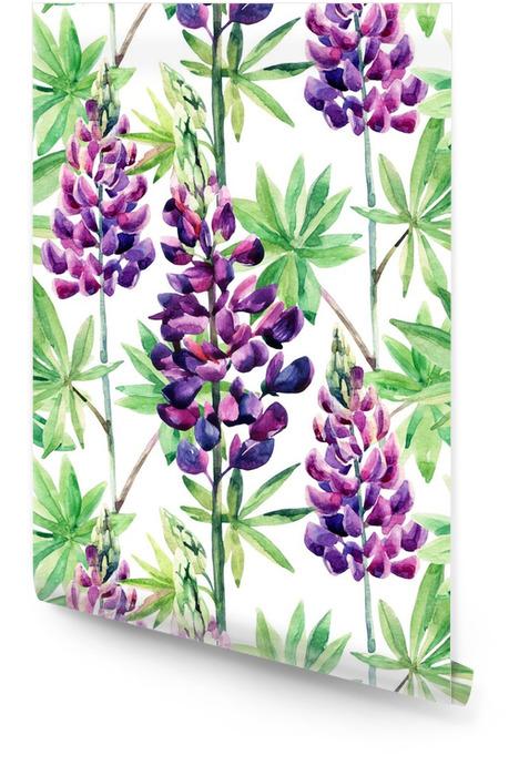 Bloemen naadloos patroon met waterverf lupines Behangrol -