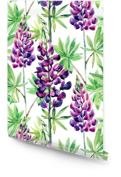 Flowers seamless pattern with watercolor lupines Wallpaper Roll -