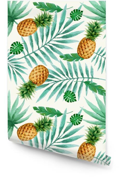 Reticolo senza giunte di frutta esotica, acquerello. Rotolo di carta da parati - Piante & Fiori