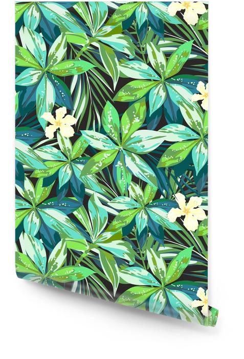Jasny kolorowy tropikalny bezszwowe tło z liści i kwiatów Tapeta w rolce - Rośliny i kwiaty