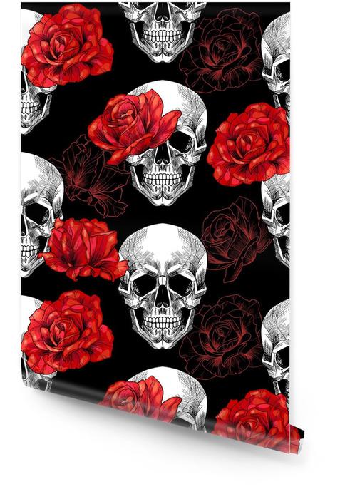 Czaszka i czerwone róże na czarnym tle również zwrócić corel ilustracji wektora Tapeta w rolce - Rośliny i kwiaty