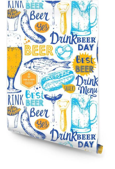 Modelo con la cerveza, sidra y un aperitivo en el estilo de dibujo. Rollo de papel pintado - Bebida