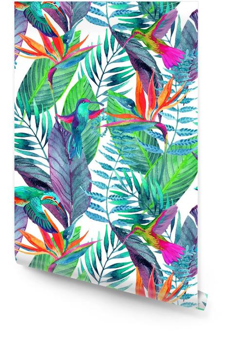 Foglie tropicali senza motivo. sfondo di disegno floreale. Rotolo di carta da parati - Piante & Fiori
