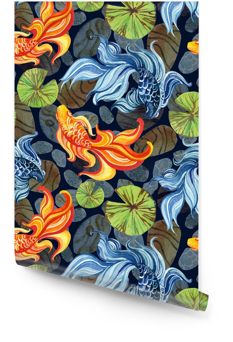 Watercolor asian goldfishes Wallpaper roll - Animals