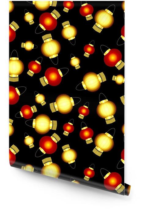 Naadloze patroon van rode en gele papieren chinese lantaarns op een zwarte achtergrond Behangrol - Religie en Cultuur