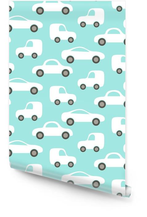 Samochód słodkie dziecko wektor wzór. projektowanie tkanin i ubrań dla dzieci. Tapeta w rolce - Transport