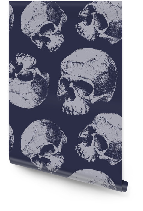 Grunge seamless pattern with skulls. Wallpaper roll - Graphic Resources