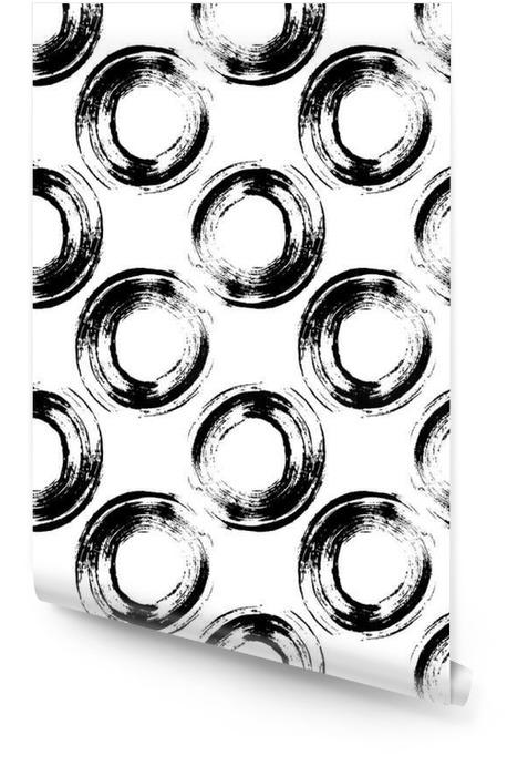 Modelo blanco y negro con círculos grunge Rollo de papel pintado - Recursos gráficos