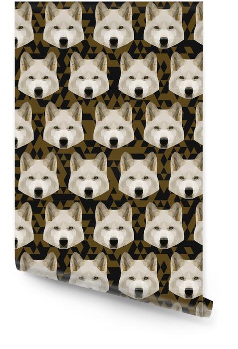 Resumen, poligonal, geométrico, lobo blanco, seamless, patrón, centrico Rollo de papel pintado - Animales