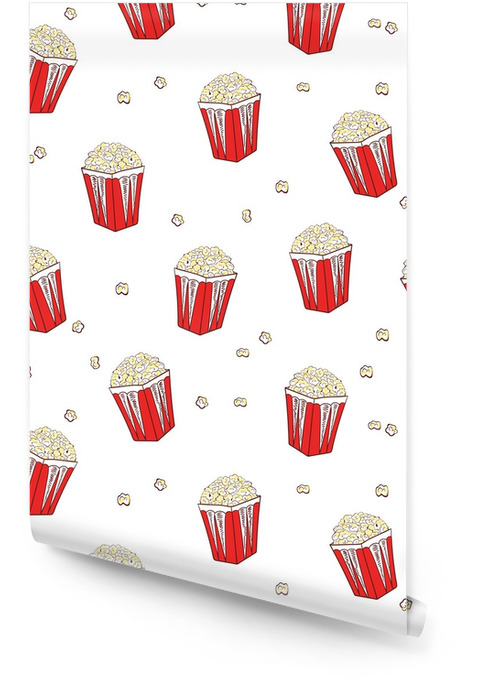Popcorn seamless pattern. Vector background with pop corn boxes isolated on white. Wallpaper roll - Food