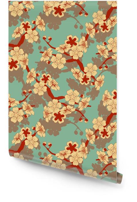 Un azulejo inconsútil del estilo japonés con una rama de cerezo y un patrón de flores en marfil y azul y rojo Rollo de papel pintado - Recursos gráficos