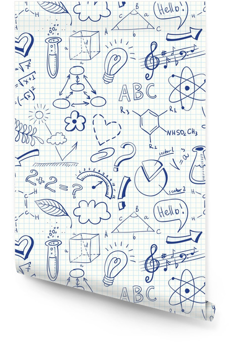 Education doodle seamless pattern with science symbols Wallpaper roll - Lifestyle