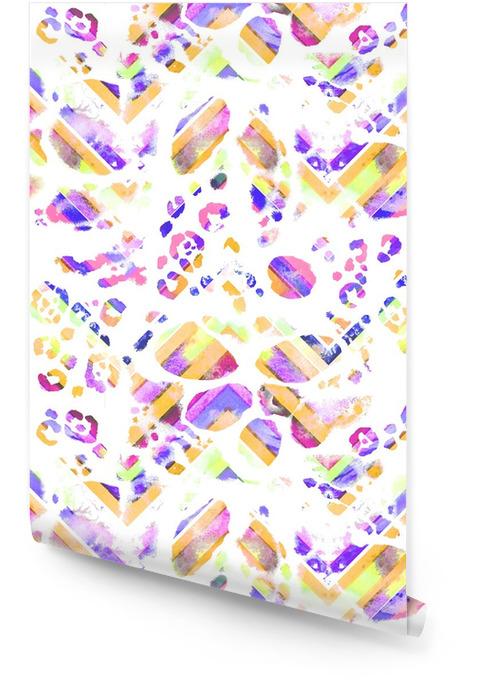 Boho patrón transparente. Zigzag ornamento textura de leopardo manchas de impresión, colores vibrantes en el fondo blanco. textura de la tela. Rollo de papel pintado - Recursos gráficos