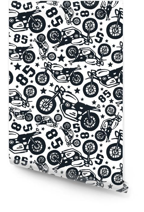 Modèle sans couture avec des dessins de motos Rouleau de papier peint - Ressources graphiques