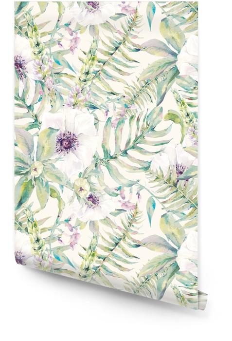 Modelo inconsútil de la hoja de la acuarela con helechos y flores Rollo de papel pintado - Plantas y flores
