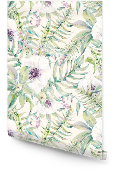 Watercolor leaf seamless pattern with ferns and flowers Wallpaper roll - Plants and Flowers