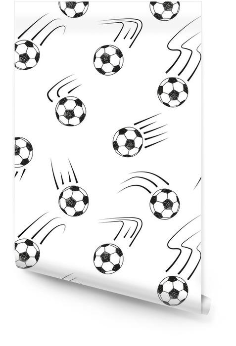 Naadloze patroon met doodle voetballen. zwart en wit vector voetbal achtergrond. Behangrol - Sport