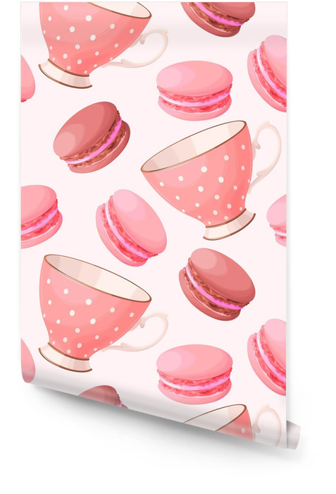 Seamless teacups and macarons Wallpaper roll - Food