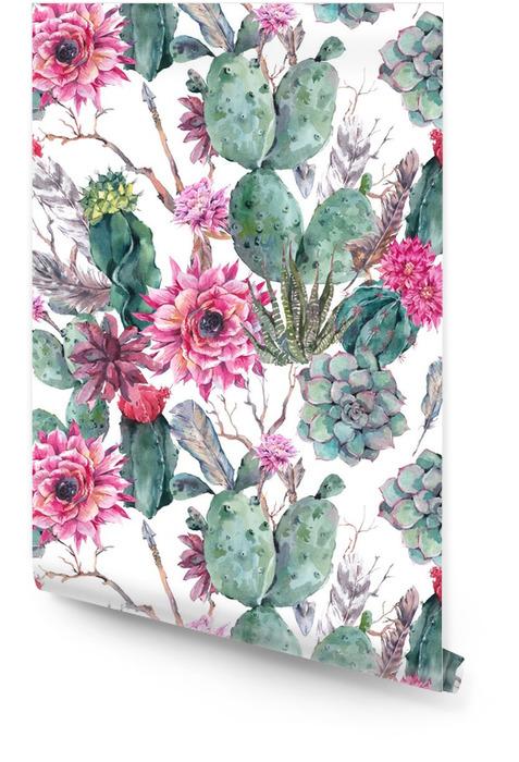 Cactus watercolor seamless pattern in boho style. Wallpaper roll - Bridal salon