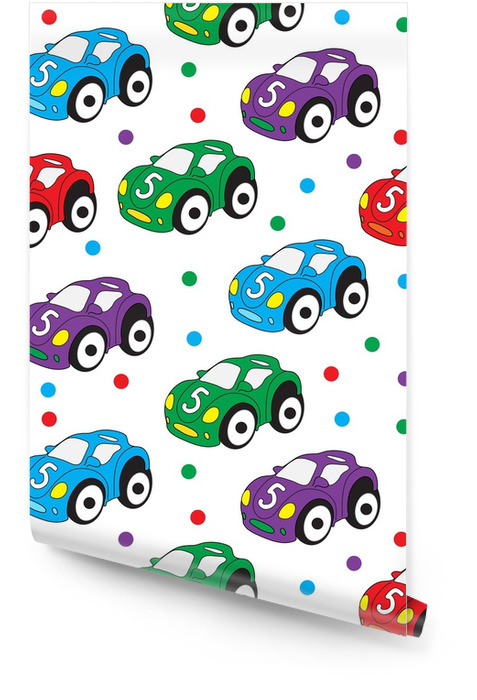 Children's toy car seamless texture. Car background, children's wallpaper. Vector illustration Wallpaper roll - Hobbies and Leisure