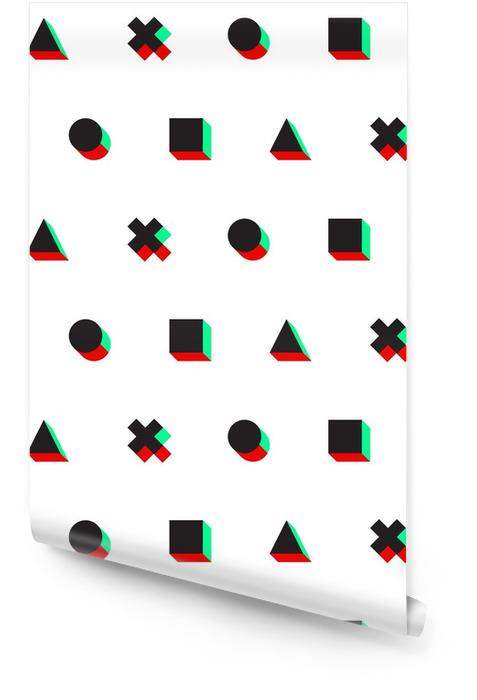 Driehoek kruis cirkel vierkant stereo 3D digitale Webpatroon Behangrol - Grafische Bronnen