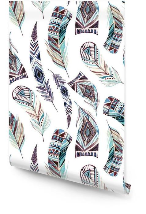 Plumes tribales aquarelle décorée de motifs sans soudure Rouleau de papier peint - Animaux