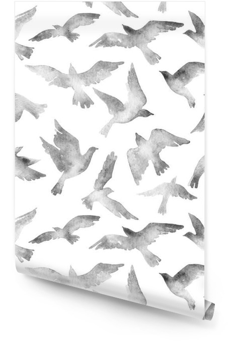 Abstract flying bird set with watercolor texture isolated on white background. Wallpaper roll - Animals