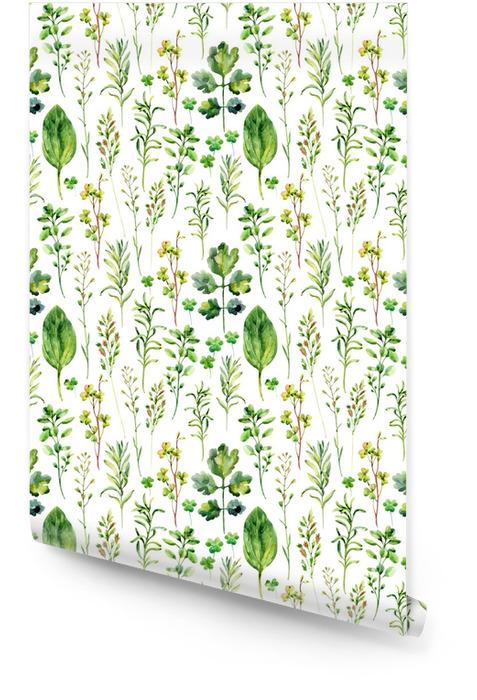 Akwarela łąka chwasty i zioła wzór Tapeta w rolce - Rośliny i kwiaty