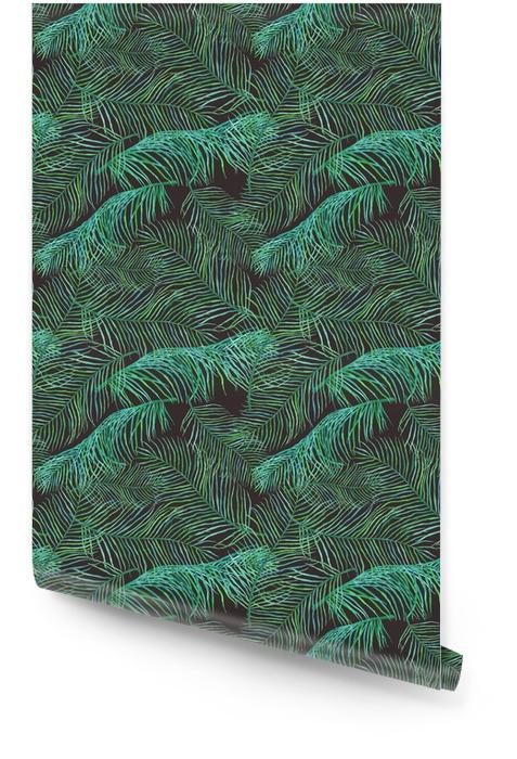 Aquarelle feuilles de palmier motif saemless sur fond sombre. Rouleau de papier peint - Plantes et fleurs