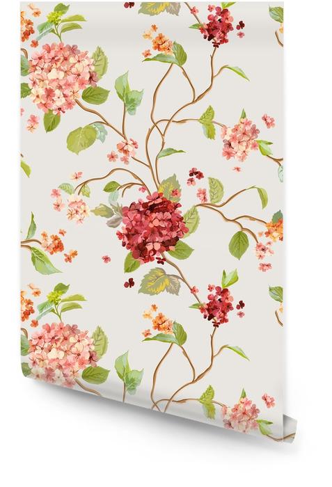 Flores vintage - fondo floral hortensia - patrón sin costuras Rollo de papel pintado - Plantas y flores
