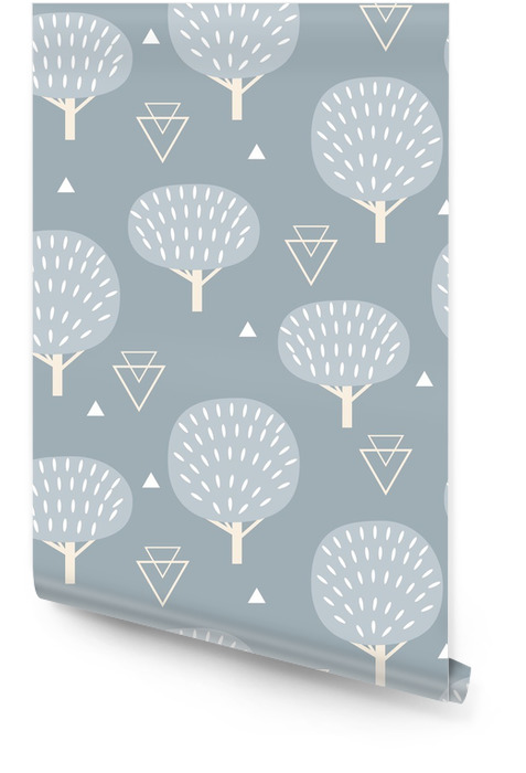 Seamless pattern in modern Scandinavian style. Vector geometry background of north nature. Wallpaper Roll -