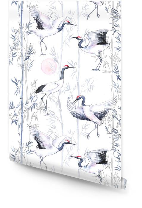 Beyaz japon dans vinçleri ile elle çizilmiş suluboya dikişsiz desen. narin kuşlar ve bambu ile tekrarlanan zemin Rulo Duvar Kağıdı - Hayvanlar