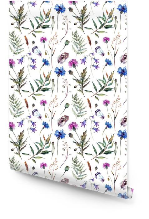 Ręcznie rysowane kwiaty akwarela Tapeta w rolce - Rośliny i kwiaty