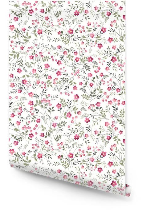 Bez szwu kwiatowy wzór na białym tle Tapeta w rolce - Rośliny i kwiaty