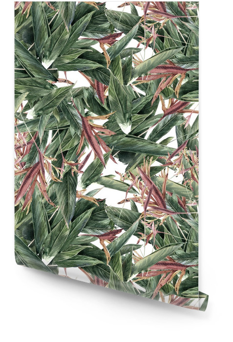 Aquarel schilderen van bladeren en bloemen, naadloos patroon Behangrol - Hobby's en Vrije tijd