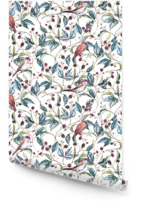 Hand-drawn watercolor seamless pattern with natural motives: blackberry branches, leaves, berries and wild birds - finches. Repeated background, print for the textile and wallpapers Wallpaper roll - Plants and Flowers