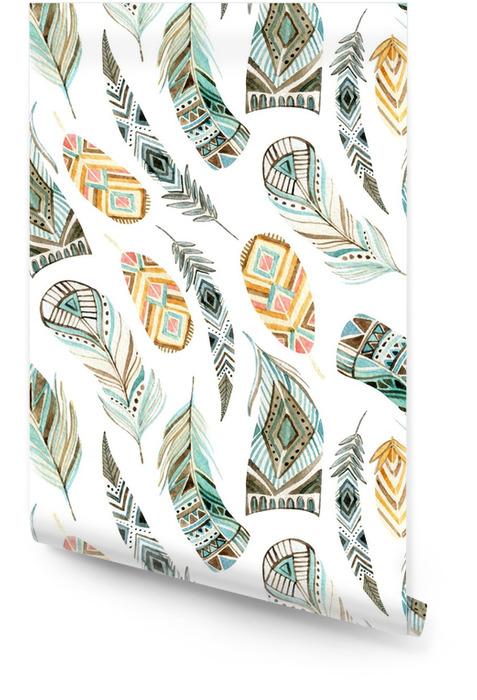 Akwarela etniczne piór wzór Tapeta w rolce - Zasoby graficzne
