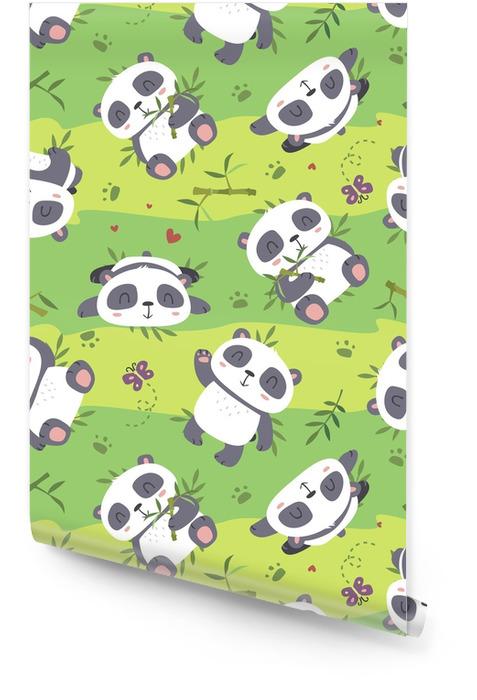 Vector panda de dibujos animados de patrones sin fisuras Rollo de papel pintado - Animales