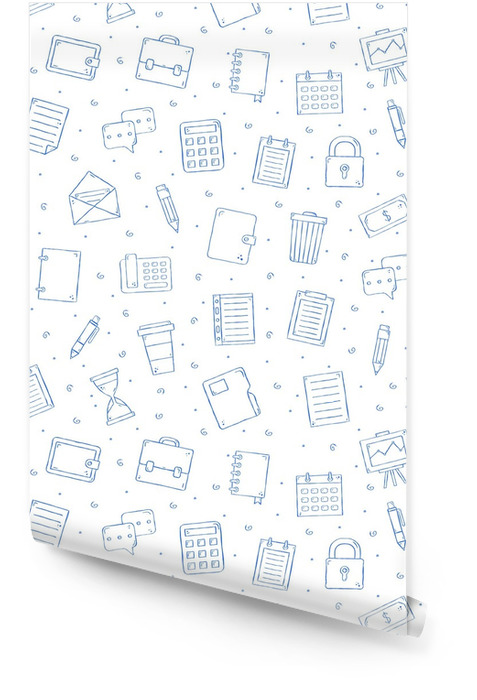 Office work pattern bllue icons Wallpaper roll - Business