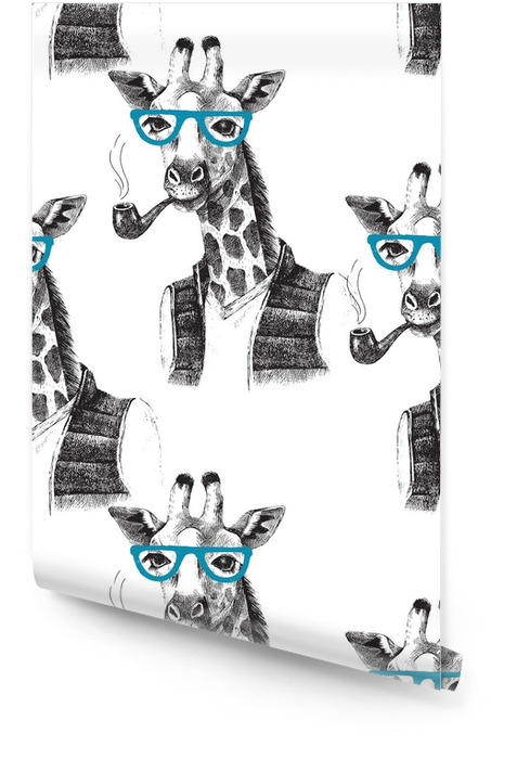 Seamless pattern with dressed up giraffe hipster Wallpaper roll - Animals