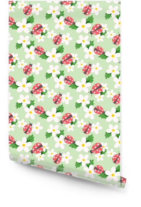 Pequeño vector de flor con mariquita. lindo patrón floral blanco sin fisuras. fondo floral. Rollo de papel pintado - Recursos gráficos