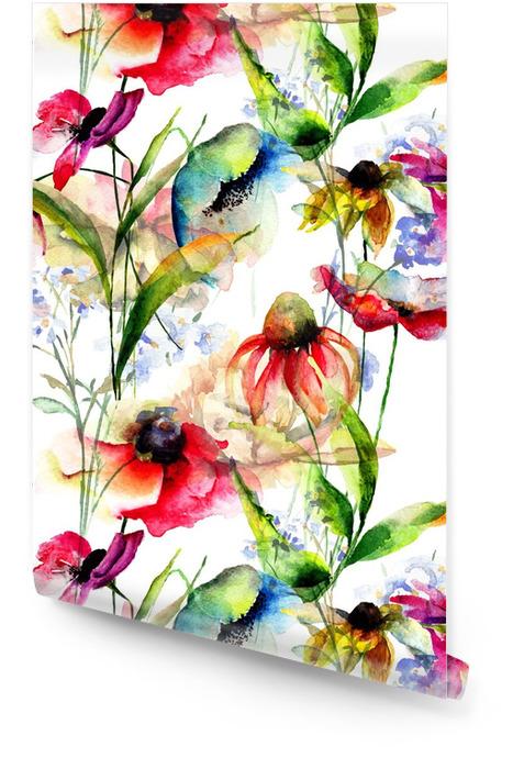 Jednolite wzór z stylizowane kwiaty Tapeta w rolce - Rośliny i kwiaty