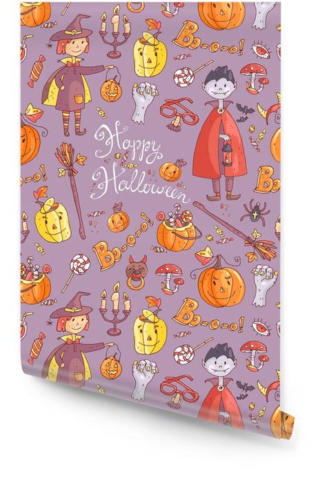 Modèle sans couture de dessinés à la main doodle vecteur avec élément de halloween Rouleau de papier peint - Culture et religion