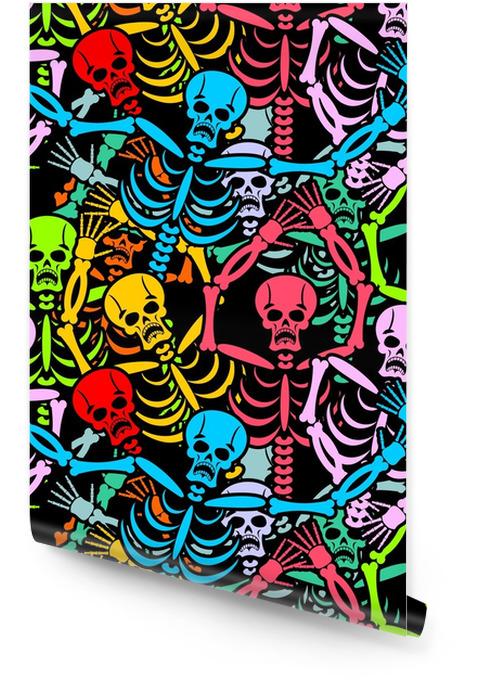 Jour des squelettes morts et sombrero. crâne multicolore en m Rouleau de papier peint - Culture et religion